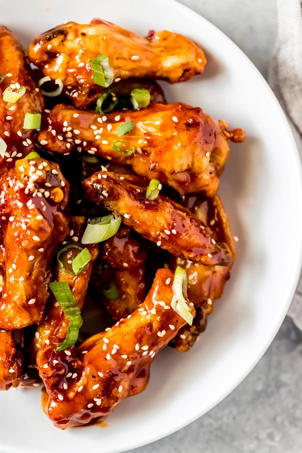 a plate of air fryer general tso's chicken wings