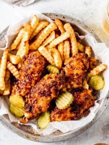 a basket of air fryer nashville hot chicken tenders