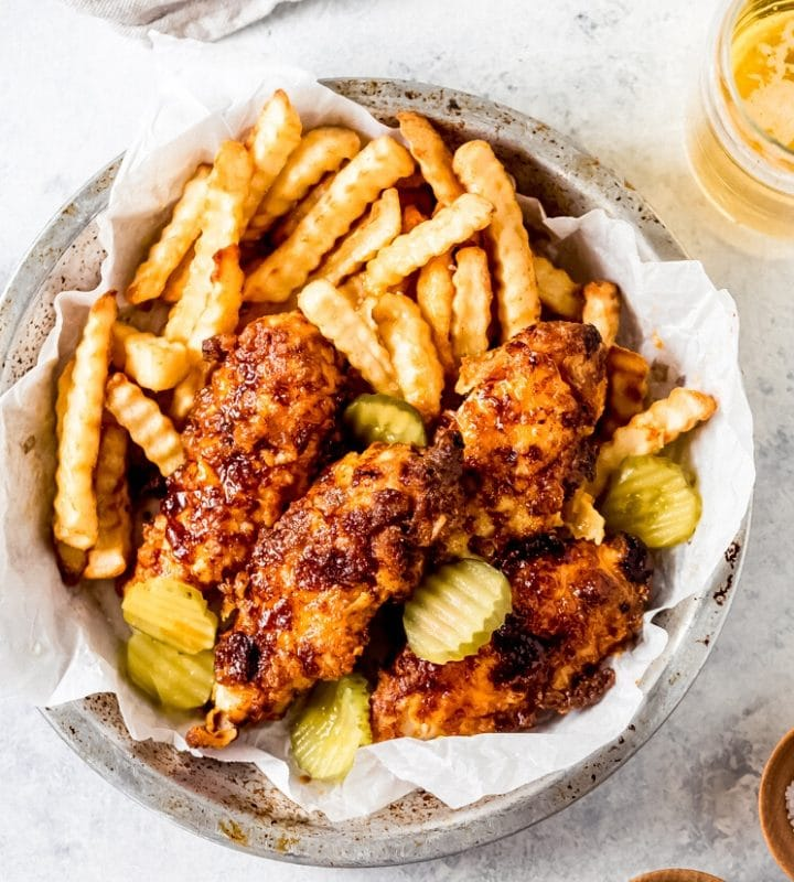a basket of air fryer nashville hot chicken tenders