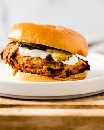 an air fried chicken sandwich on a plate