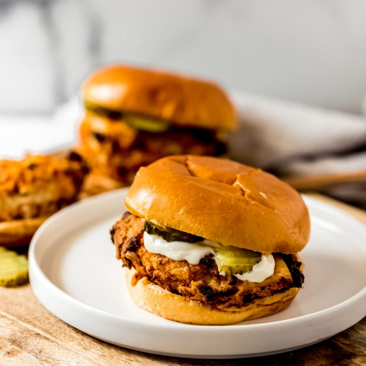 two air fried chicken sandwiches