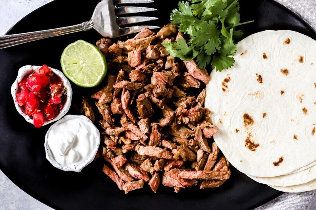 a platter of air fryer steak tacos