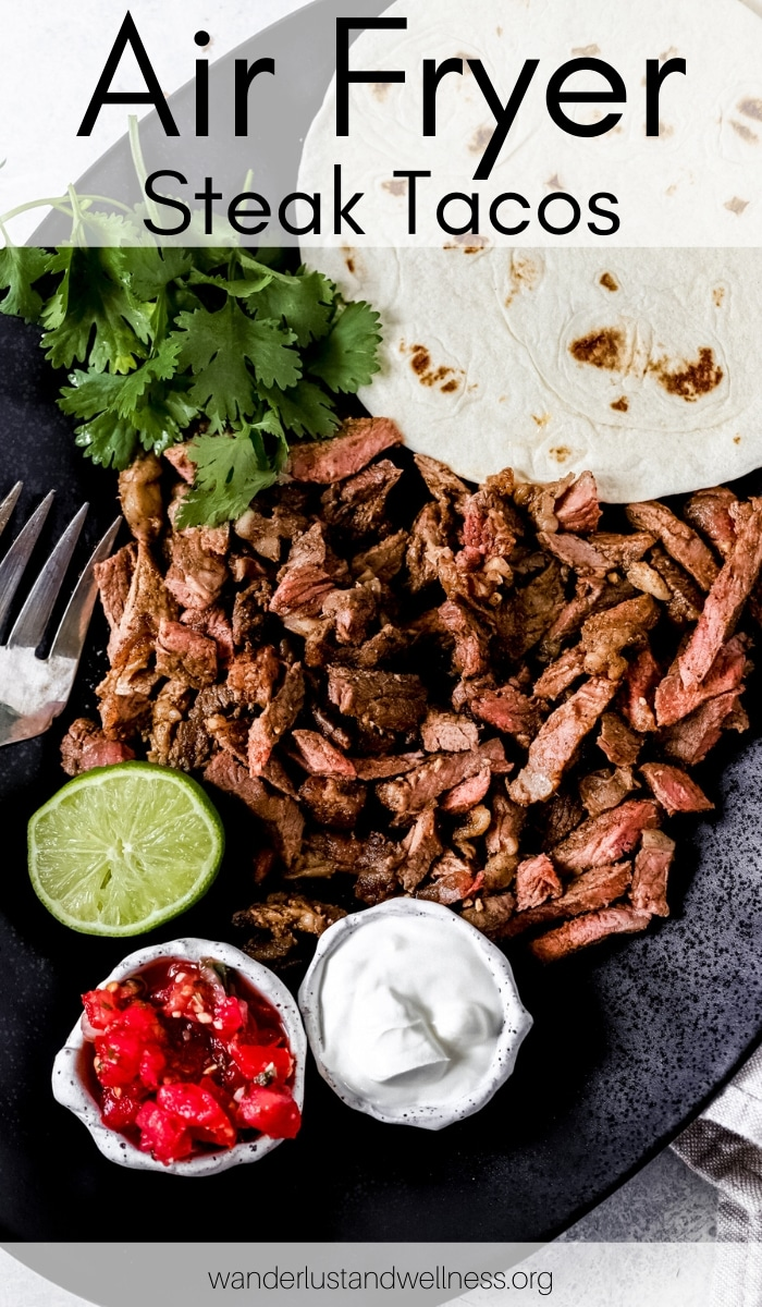 a plate of air fryer steak tacos ready to be assembled