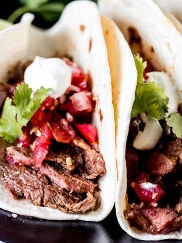 air fryer steak tacos on a platter