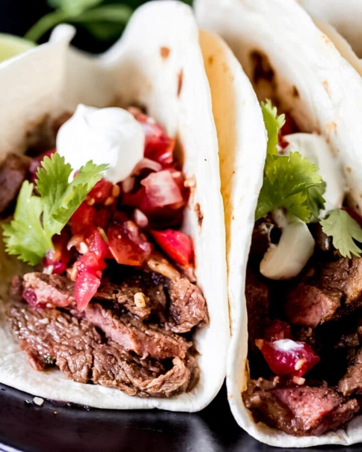 air fryer steak tacos on a platter