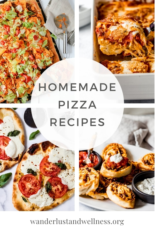 a collage picture of homemade pizza recipes