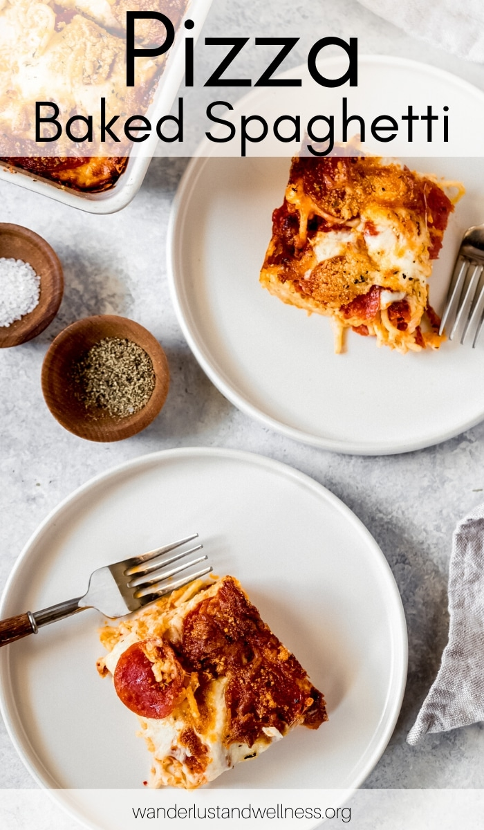 two plates of pizza baked spaghetti