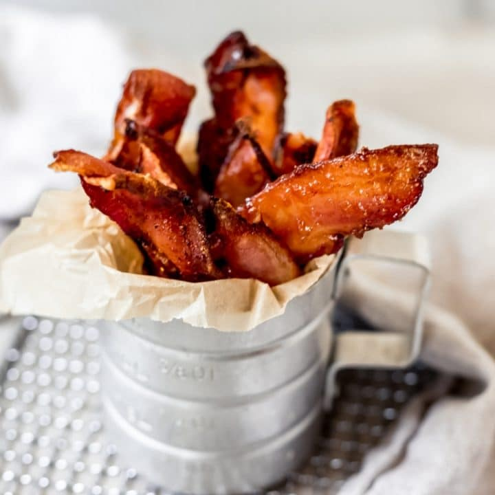 air fried candied bacon in a container
