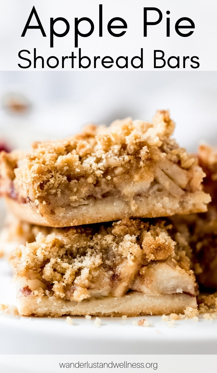 two apple pie shortbread bars stacked