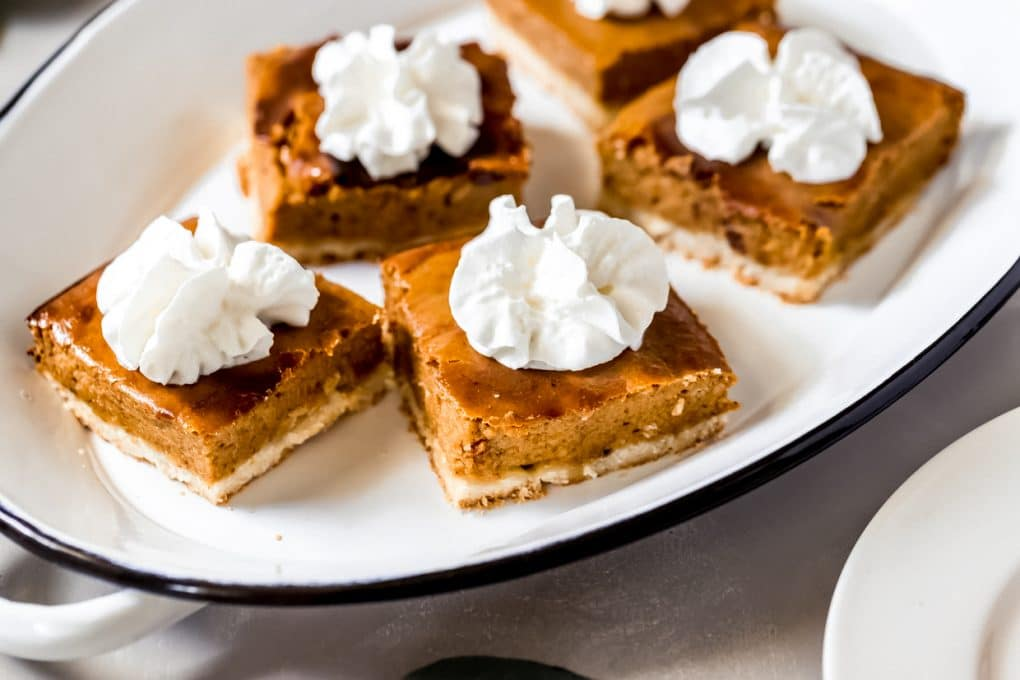 a platter of pumpkin pie shortbread bars