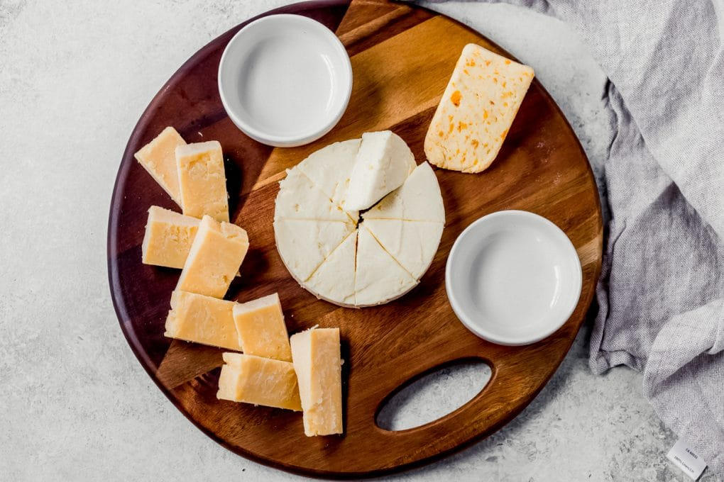 a variety of cheese for a charcuterie board