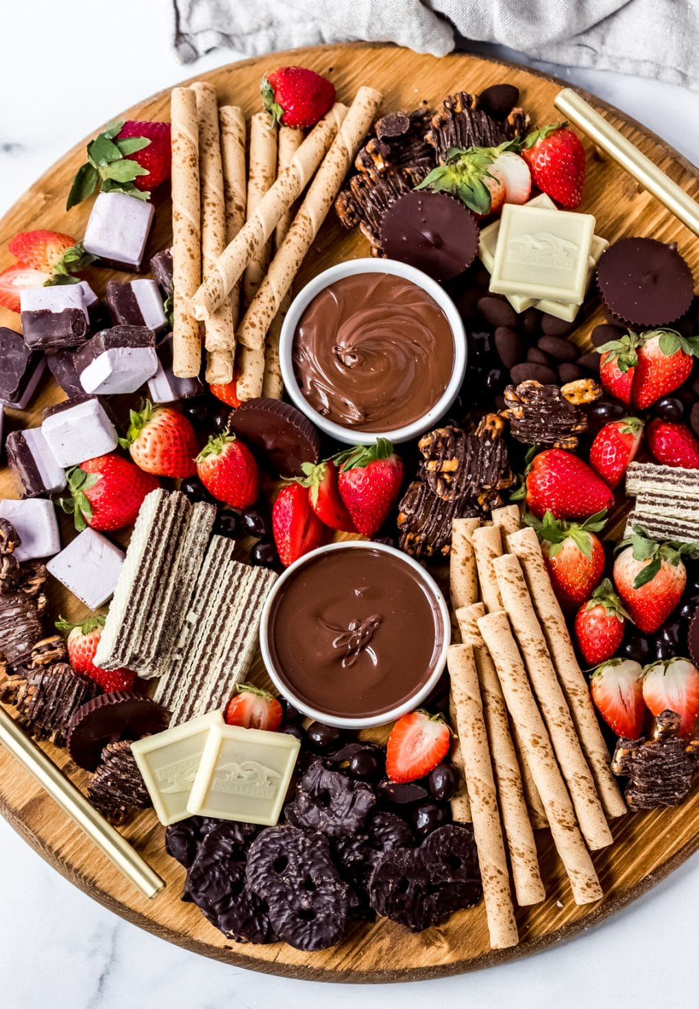 a round chocolate charcuterie board