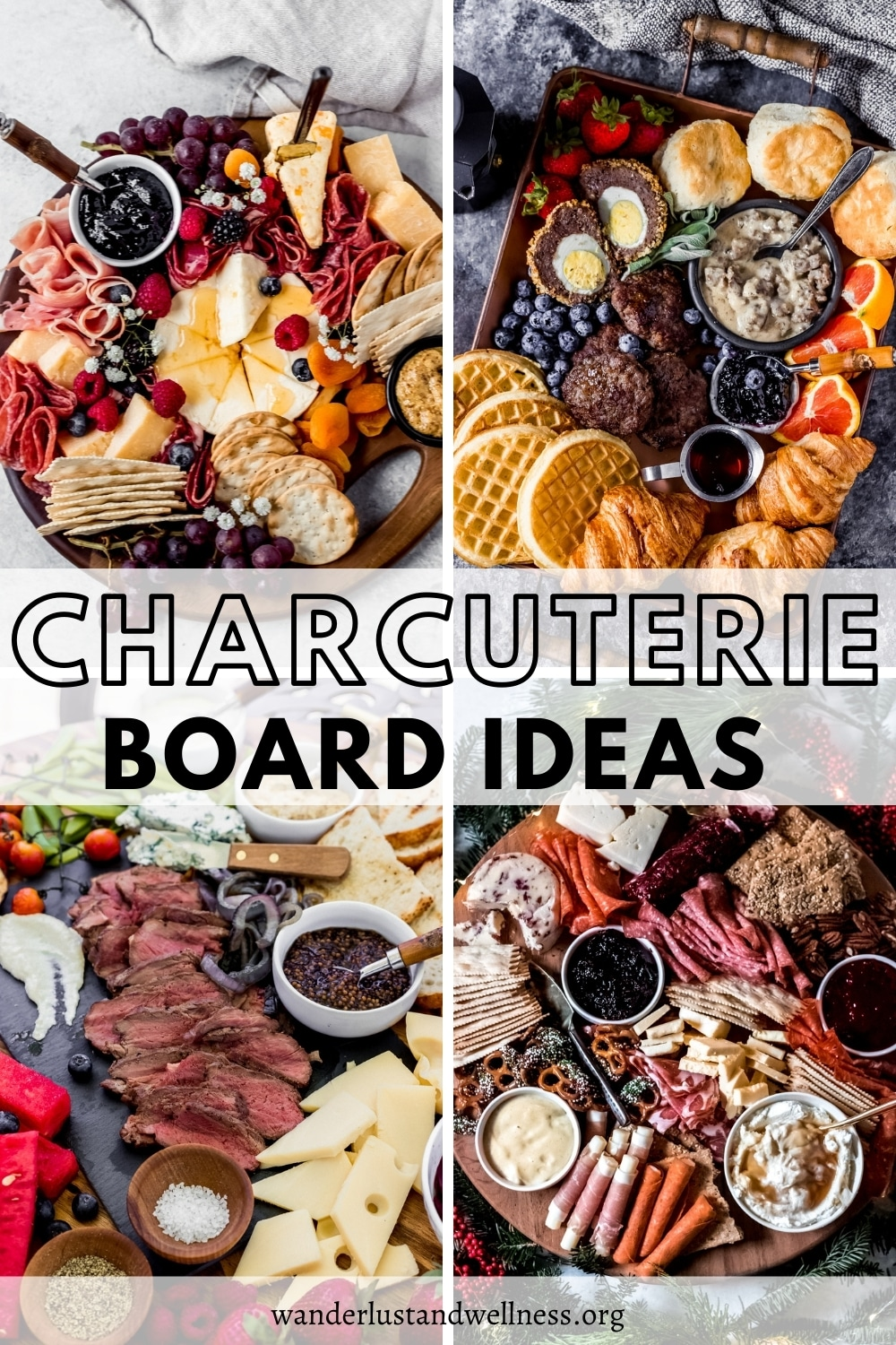 a collage of charcuterie board pictures