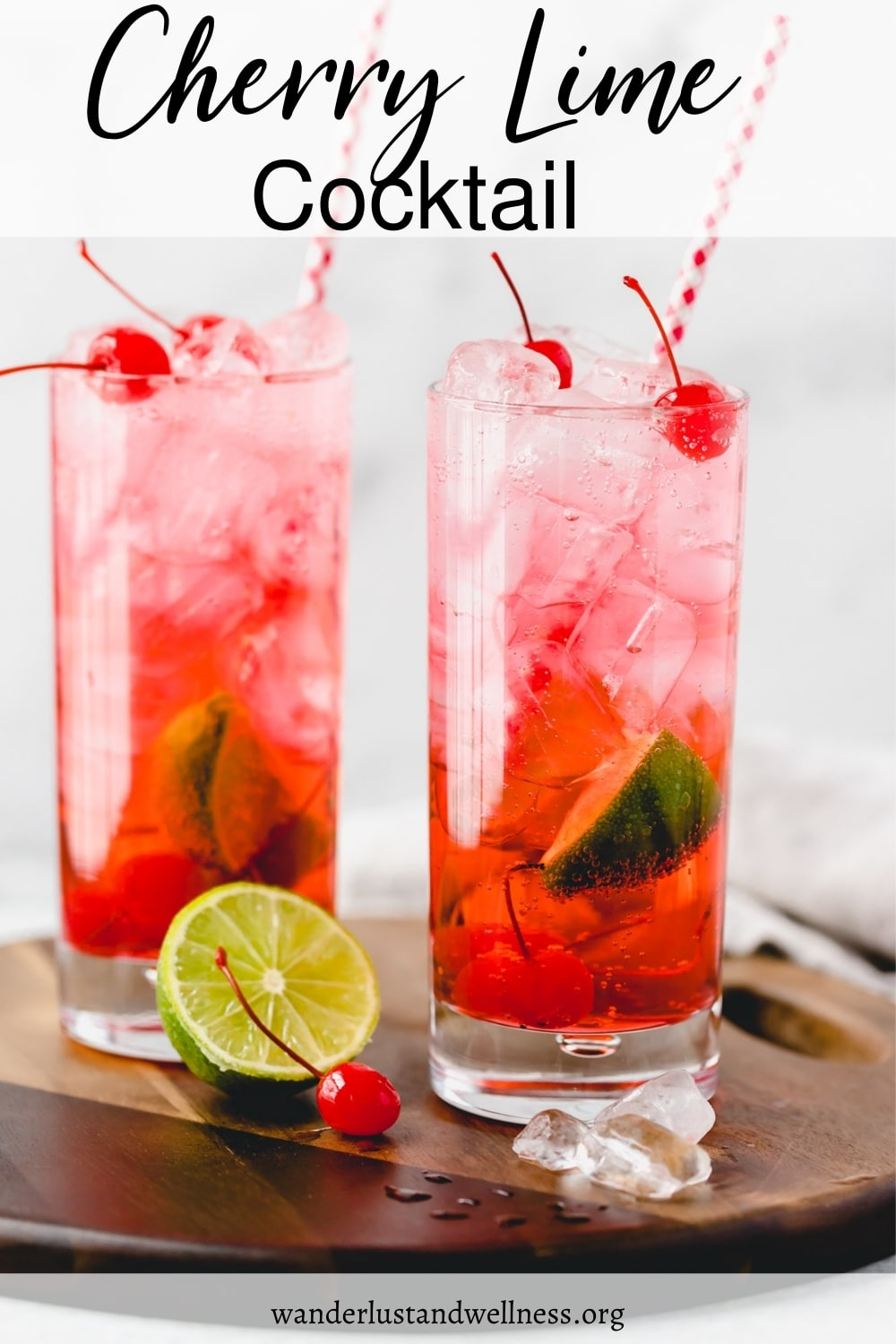 two cherry lime la croix cocktails on a wooden board
