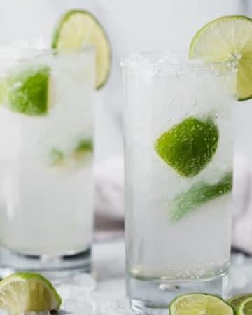 two glasses of la croix skinny margarita