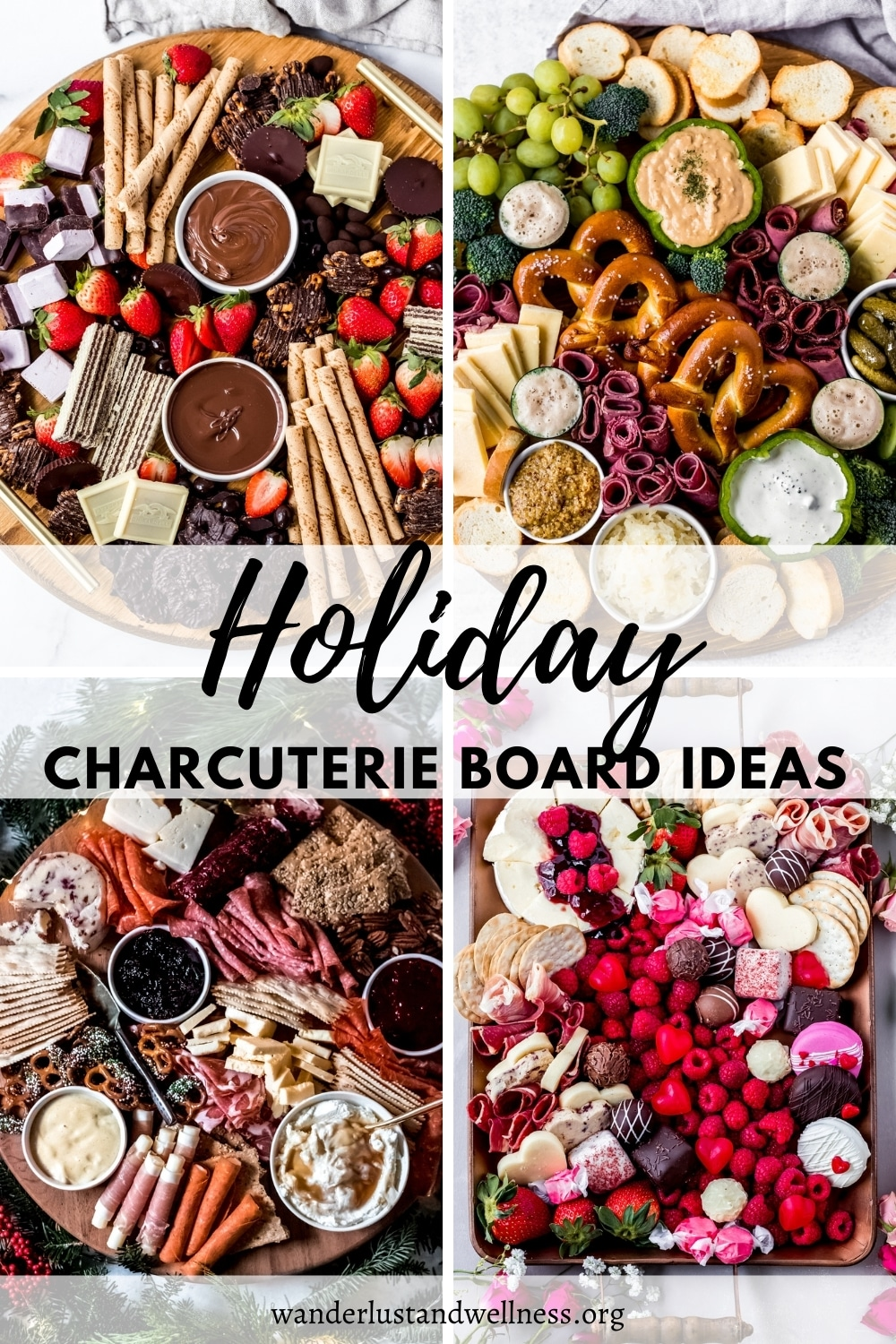 a collage image of holiday charcuterie board ideas