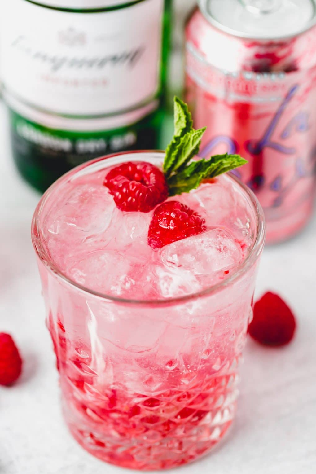 a razz cranberry La Croix cocktail