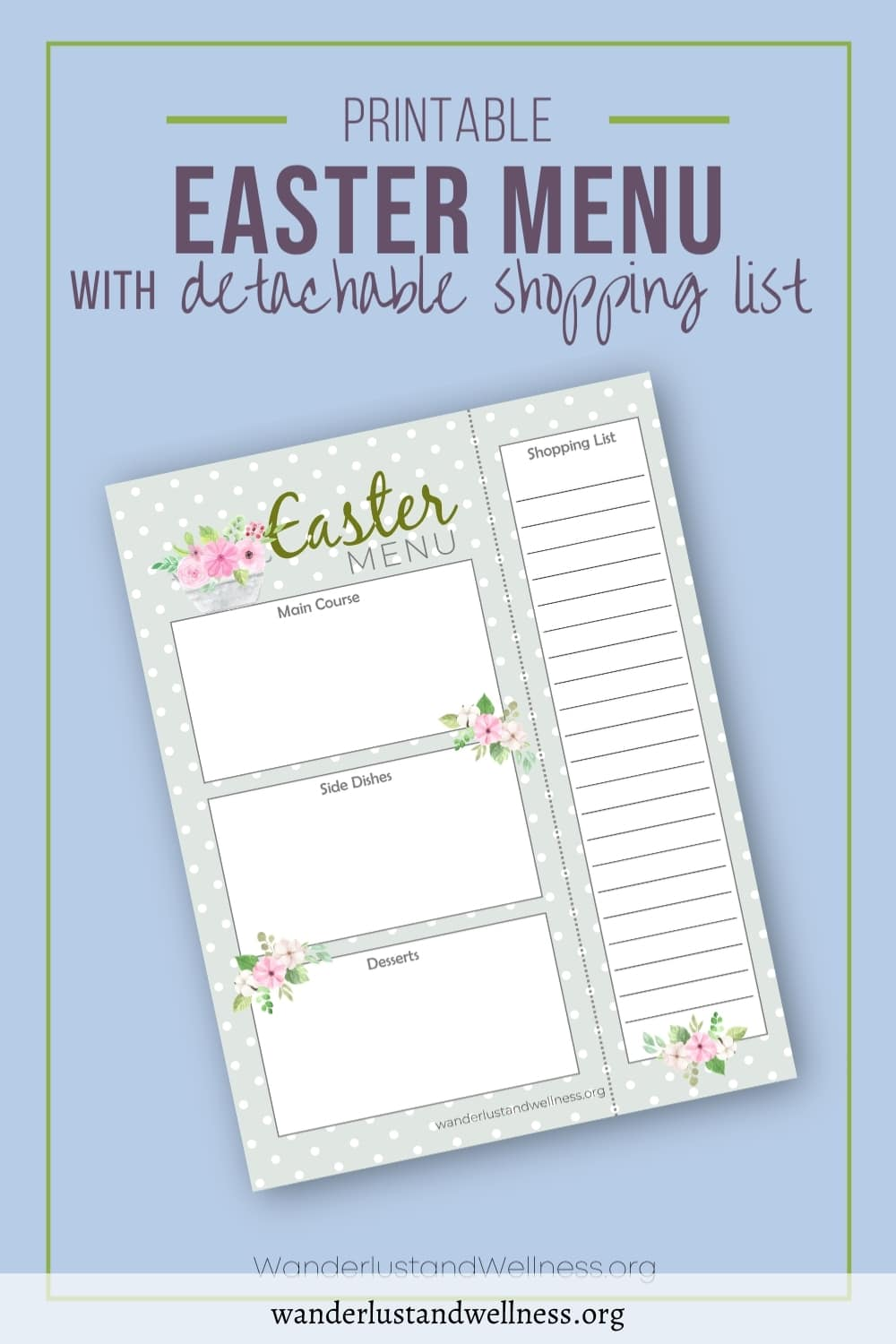 an easter menu meal planner printable