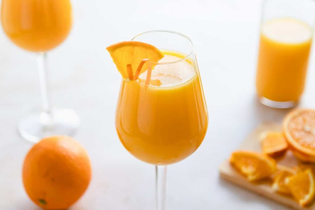 a glass of classic mimosa recipe