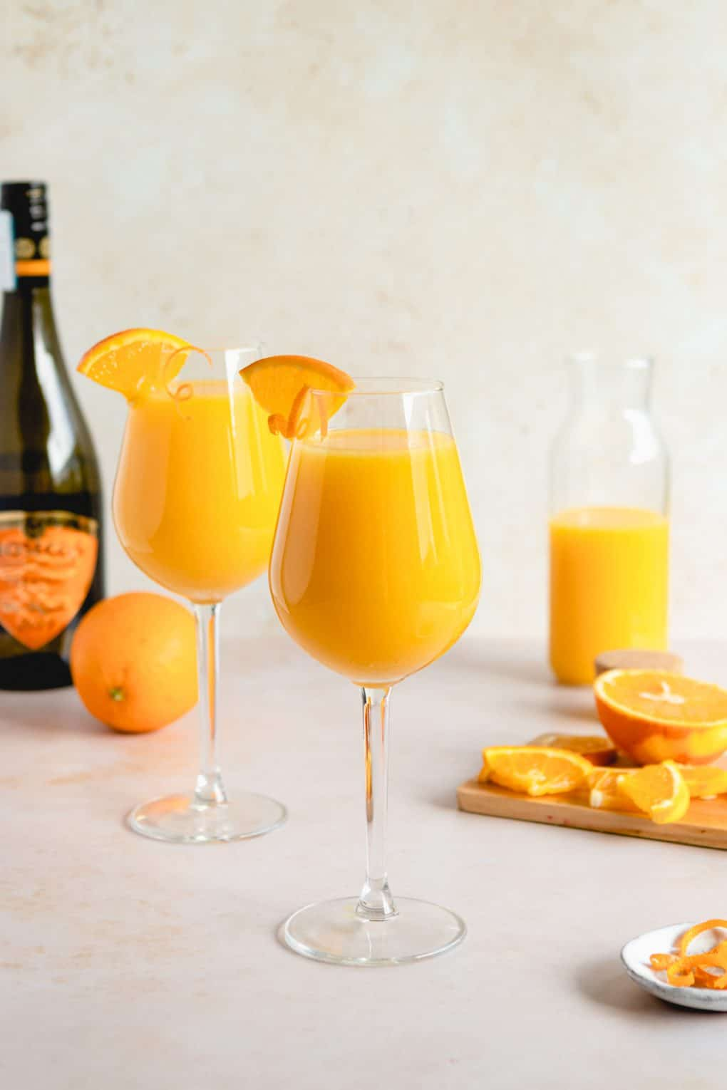 two glasses of classic mimosa