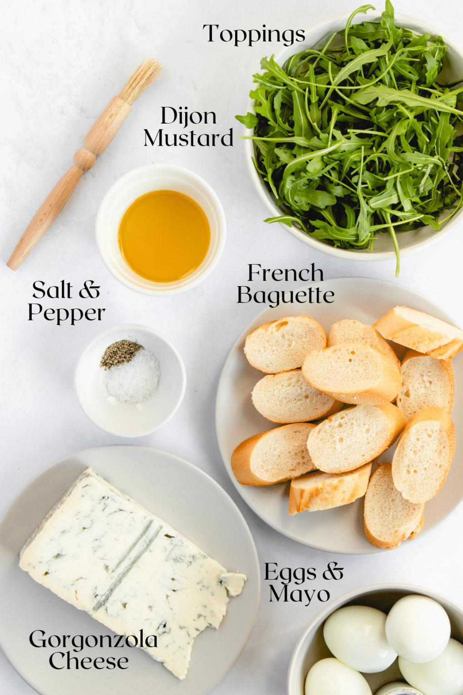 ingredients to make egg salad crostini