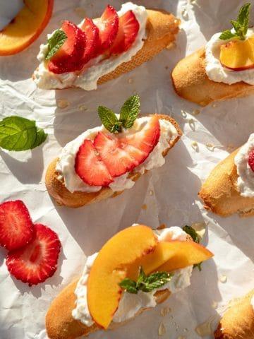 fresh fruit and ricotta crostini