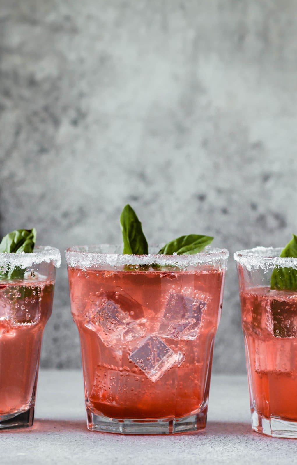 three glasses with pamplemousse la Croix cocktail