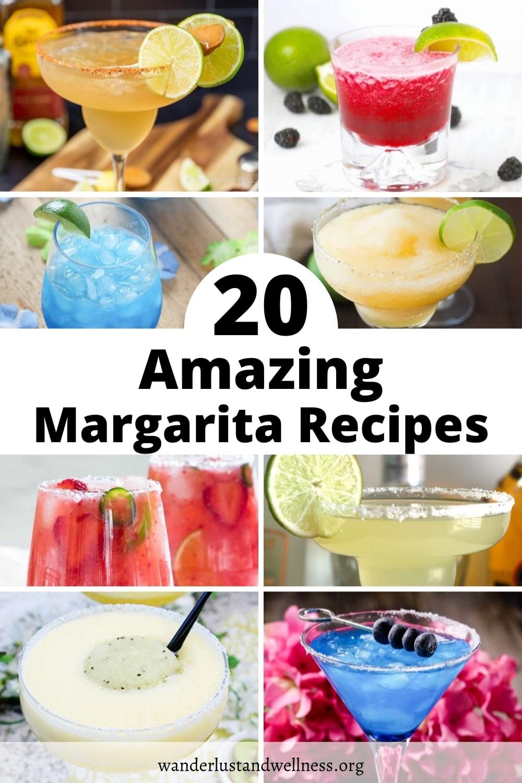 a collage image of 20 amazing margarita recipes