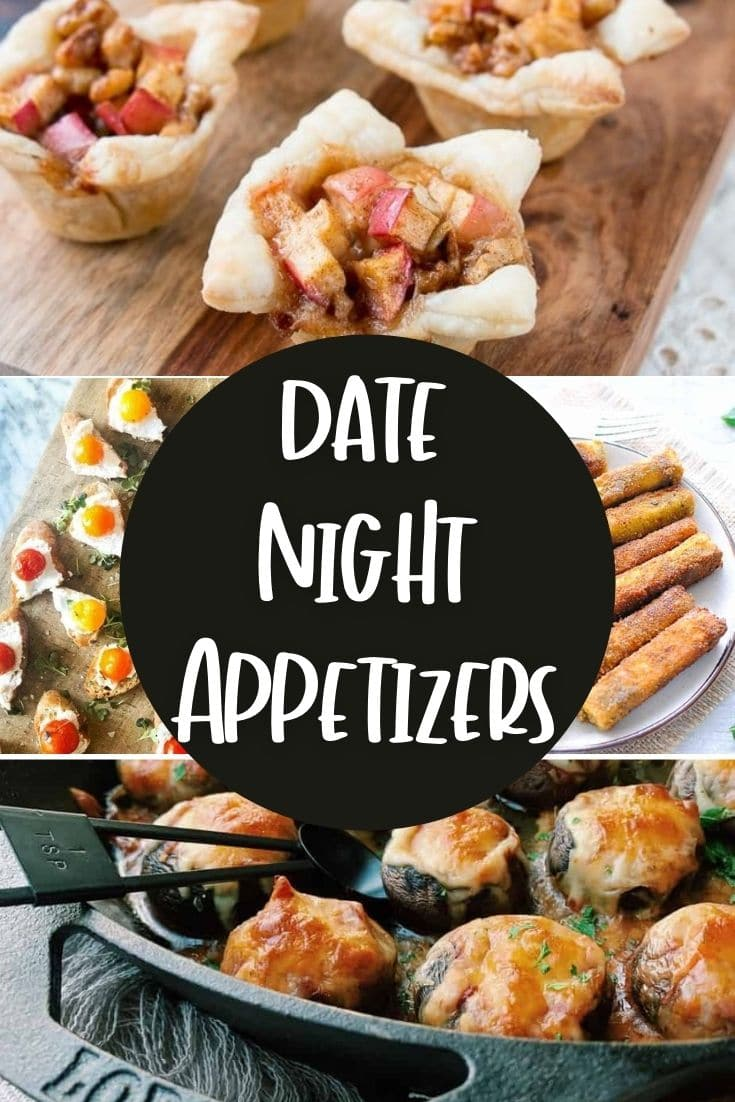 a collage picture of date night appetizers