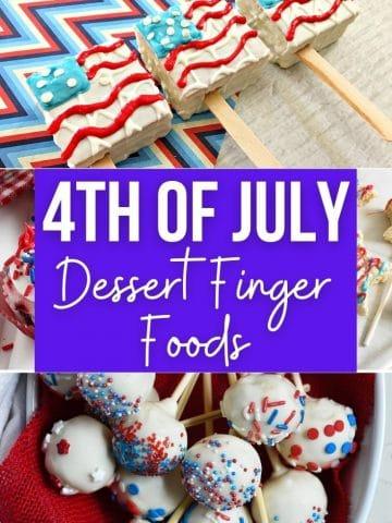 a collage image of Fourth of July dessert finger foods