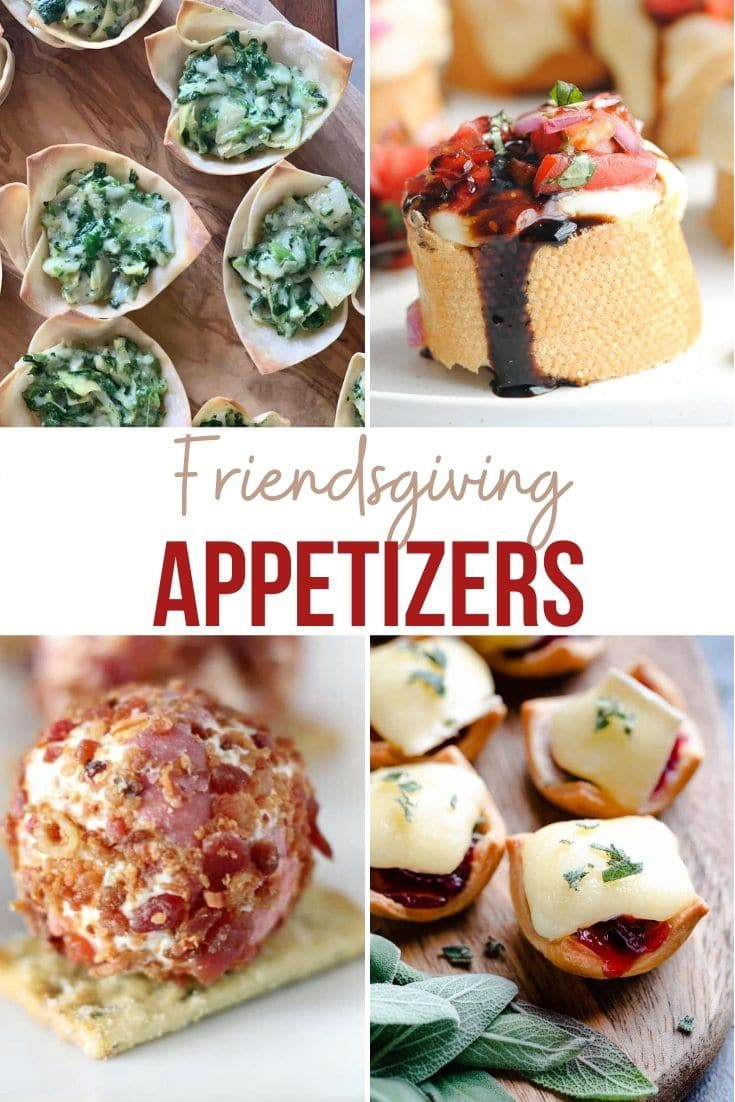 a collage of Friendsgiving appetizers