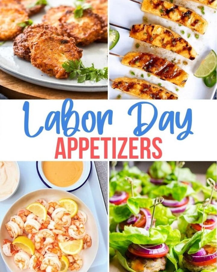 a collage of pics of Labor Day appetizers