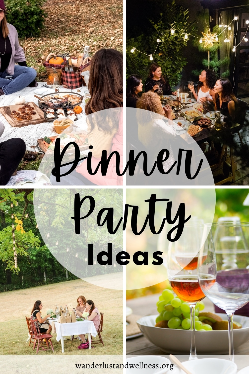 a collage of dinner party ideas