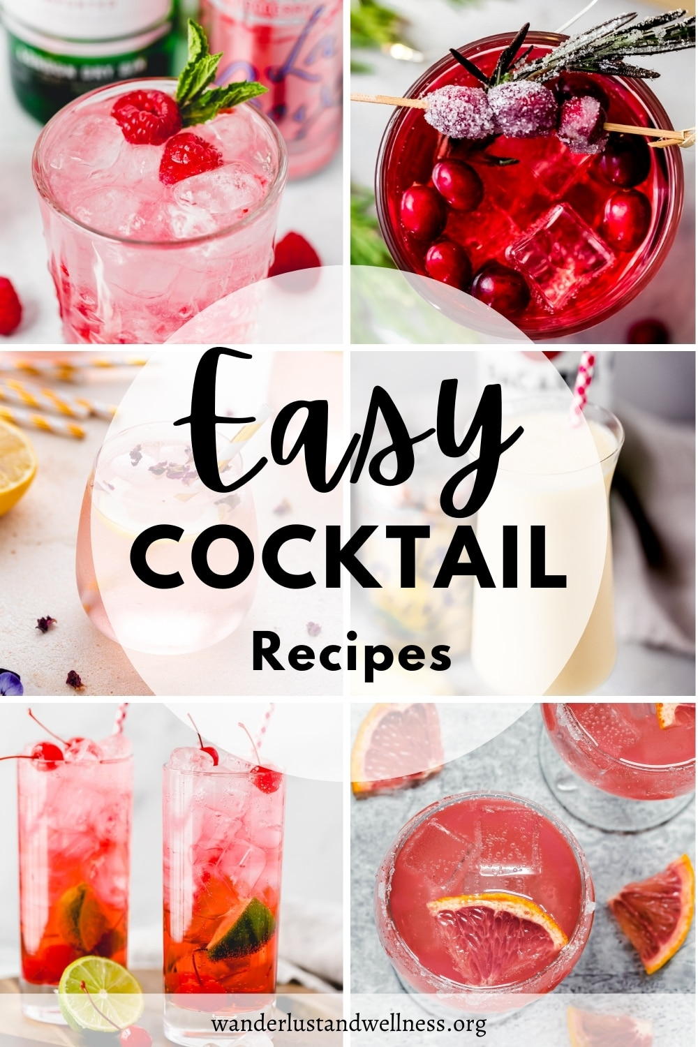 a collage of easy cocktails
