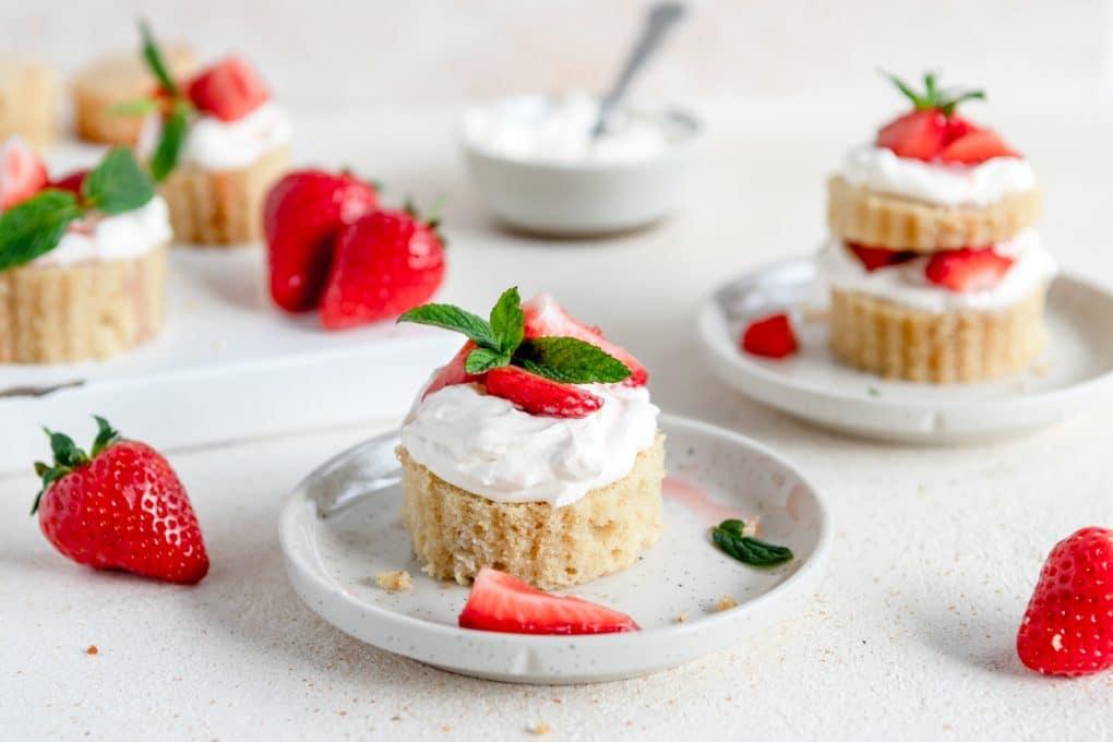 a mini strawberry shortcake on a plate