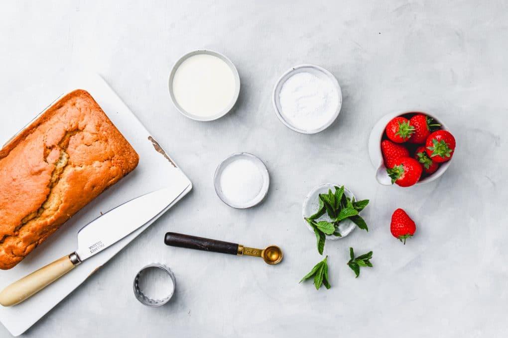 ingredients to make mini strawberry shortcakes