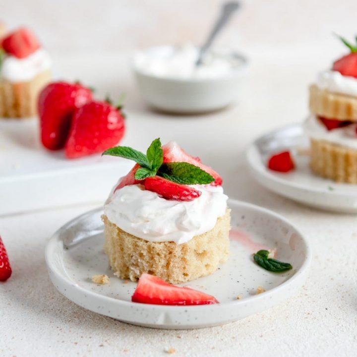 a plate of mini strawberry shortcakes