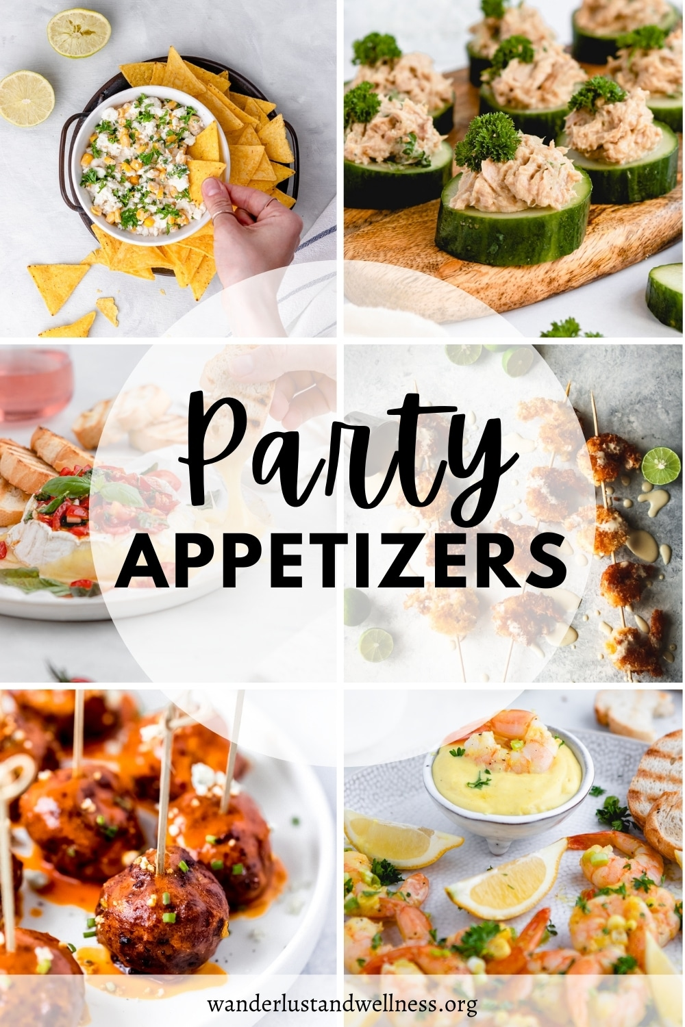 a collage of party appetizers