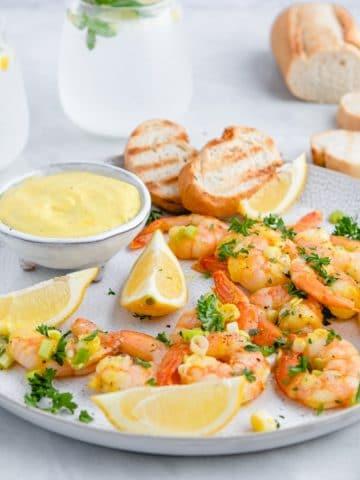 a plate of shrimp dijon appetizer