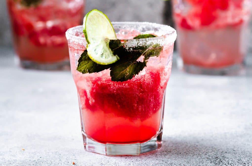a lowball glass of watermelon la Croix cocktail