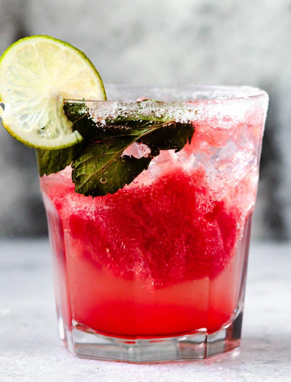 a glass of watermelon la Croix cocktail