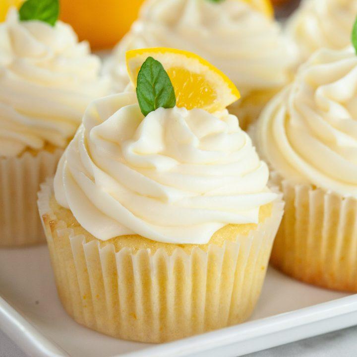 close up of lemon cupcake recipe