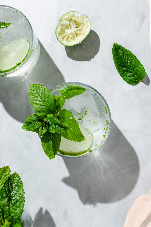 a lime seltzer cocktail