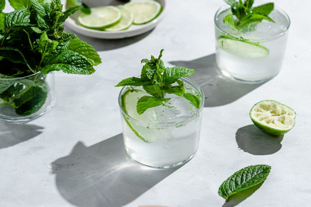 glasses of lime seltzer cocktail