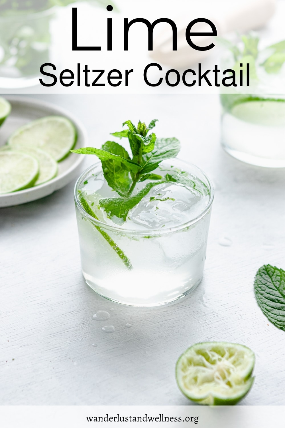 a glass of lime seltzer cocktail