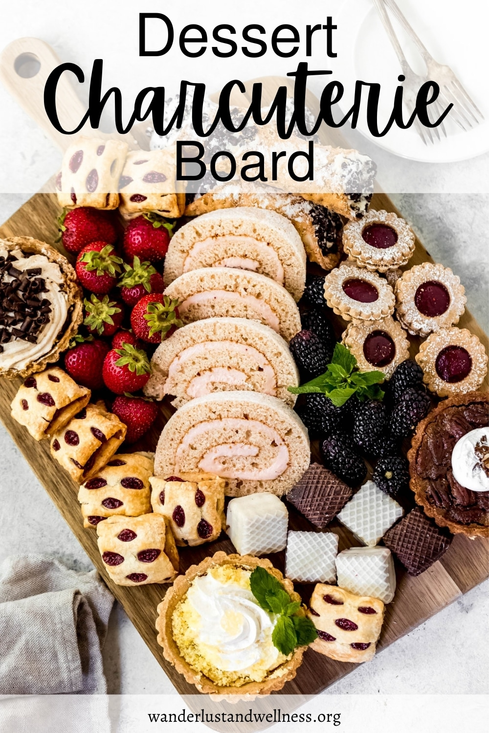 a pinnable image for a dessert charcuterie board