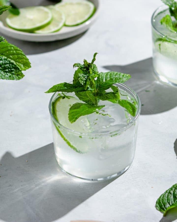 glasses of lime seltzer cocktails