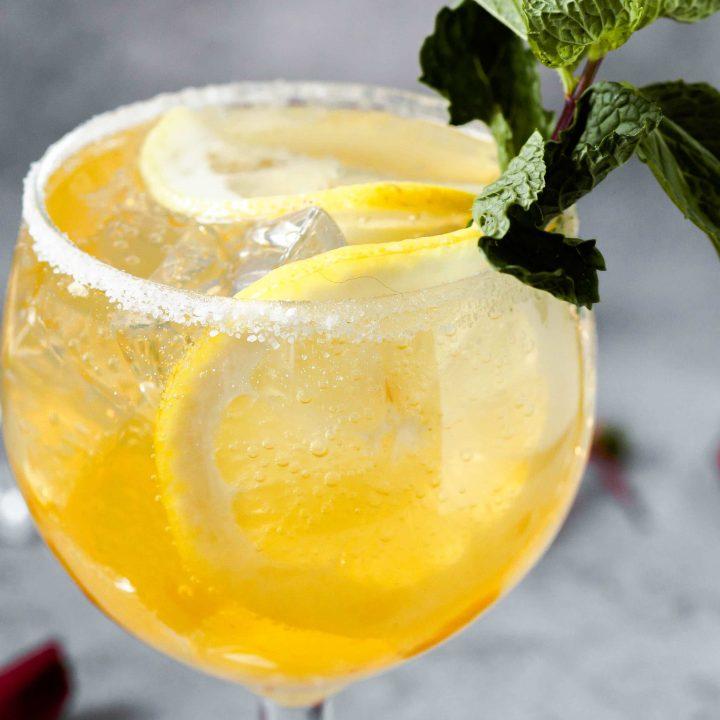 close up of Limoncello La Croix Cocktail