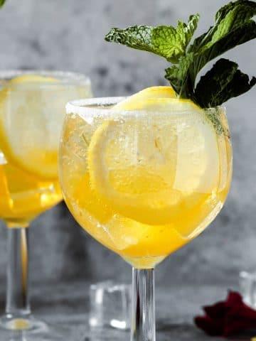 glass full of Limoncello La Croix Cocktail