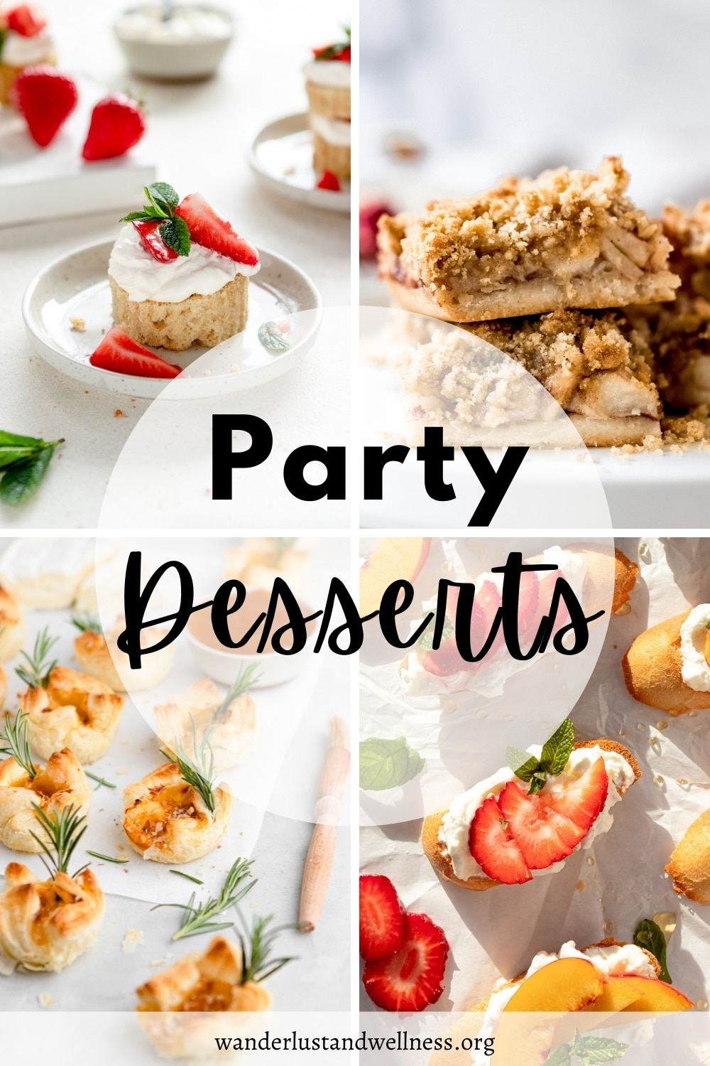 a collage of party desserts